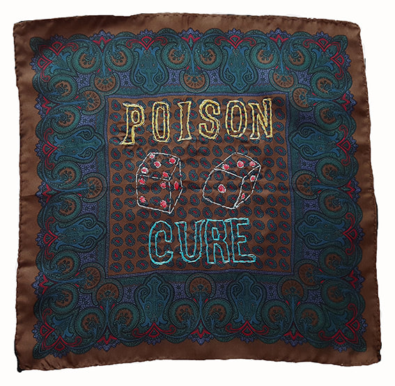 K is for Kevin #15 - POISON CURE, embroidery on handkerchief, 30x30cm, Natalie Sirett 2020