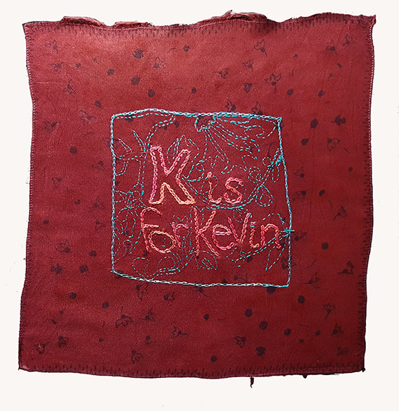 K is for Kevin #2 - K is for KEVIN embroidery on handkerchief, 27x29cm, Natalie Sirett 2020
