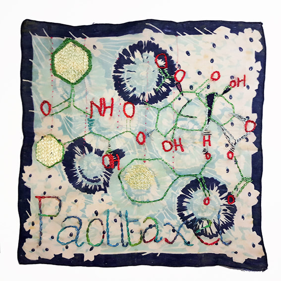 K is for Kevin #39 - PACLITAXEL embroidery on handkerchief, 30x32cm, Natalie Sirett 2020