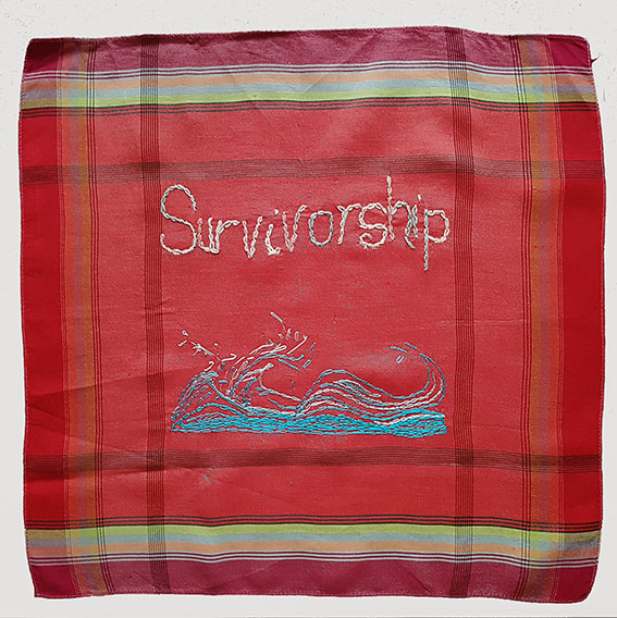 K is for Kevin #51- SURVIVORSHIP embroidery on handkerchief, 28x29cm Natalie Sirett 2020