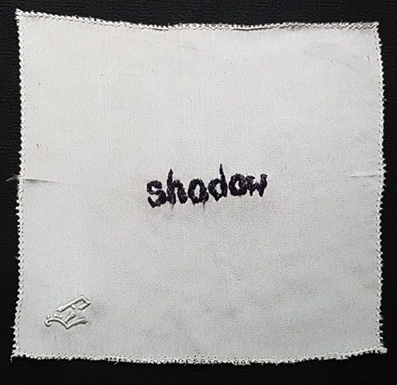 K is for Kevin #7 - SHADOW embroidery on handkerchief, 15x15cm, Natalie Sirett, 2020